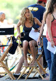 Jennifer Aniston leggy and cleavagy on location for The Bounty in New York